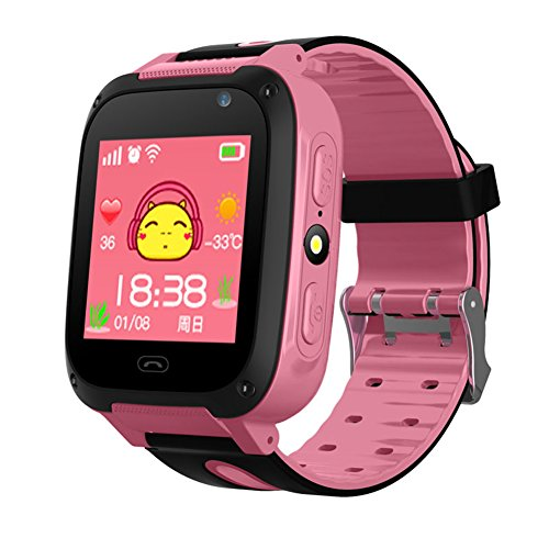 Behavetw Wasserdicht Touchscreen GPS Tracker SMART Handy Uhr, rosa