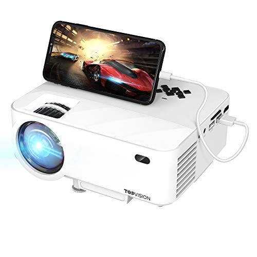 TOPVISION Mini Beamer mit Screen Mirroring,4500 Lumen Heimkino Beamer Full HD 1080P Video Beamer